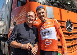 06.07.2019, Wels, AUT, Ö-Tour, Österreich Radrundfahrt, Prolog, Einzelzeitfahren (2,5 km), im Bild v.l. Klaus Bannwarth (Fa. Gebrüder Weiss), Matthias Brändle (AUT, Israel Cycling Academy) // f.l. Klaus Bannwarth of Austria (Fa. Gebrüder Weiss) Matthias Brändle of Austria (Israel Cycling Academy) during the prolog, Individual time trial (2,5 Km) of the 2019 Tour of Austria. Wels, Austria on 2019/07/06. EXPA Pictures © 2019, PhotoCredit: EXPA/ Reinhard Eisenbauer