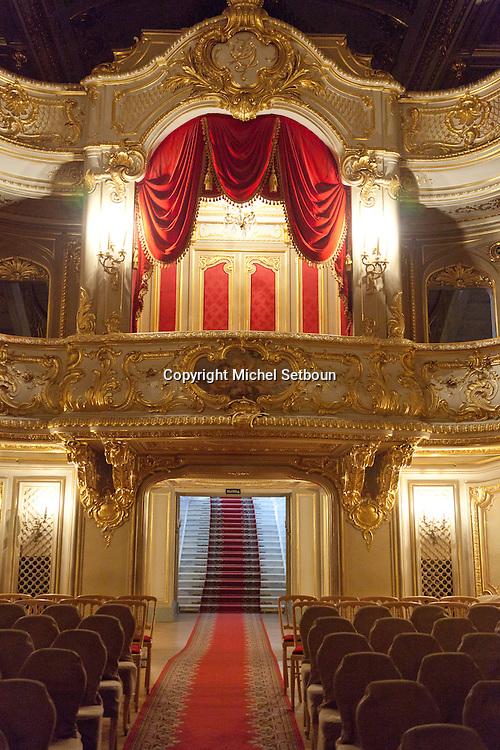 Russia, St Petersburg, interiors of Yussoupov palace museum. theater italian baroque style /// interieur du palais musee Youssoupov. Saint Petersbourg. Russie. theatre de style baroque italien