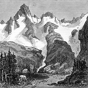Rush Creek Glacier, on eastern slopes of the Sierra Nevada, California, USA. Wood engraving from an article of 1875 by John Muir (1838-1914) Scottish-born American naturalist and campaigner for National Parks.