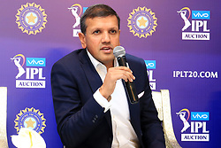 December 18, 2018 - Jaipur, Rajasthan, India - Rajasthan Royals lead owner Manoj Badale (L)  speak to the media at a press conference for the Indian Premier League 2019 auction in Jaipur on December 18, 2018, as teams prepare their player rosters ahead of the upcoming Twenty20 cricket tournament next year. The 2019 edition of the IPL -- one of the world's most-watched sporting events attracting the world's top stars -- is set to take place in April and May next year.(Photo By Vishal Bhatnagar/NurPhoto) (Credit Image: © Vishal Bhatnagar/NurPhoto via ZUMA Press)