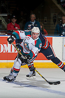 KELOWNA, CANADA - JANUARY 7: Erik Gardiner #12 of the Kelowna Rockets passes the puck against the Kamloops Blazers on January 7, 2017 at Prospera Place in Kelowna, British Columbia, Canada.  (Photo by Marissa Baecker/Shoot the Breeze)  *** Local Caption ***