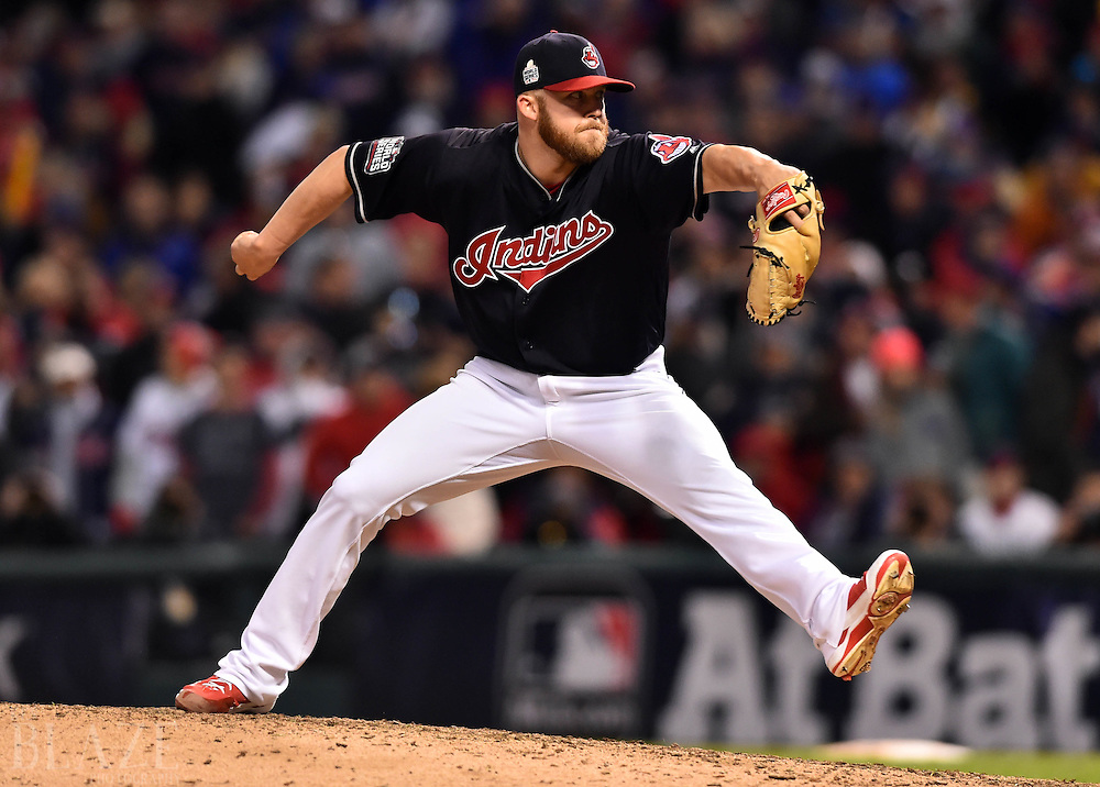 Oct 25, 2016; Cleveland, OH, USA; Cleveland Indians relief pitcher Cody Allen throws a pitch against the Chicago Cubs in the 9th inning in game one of the 2016 World Series at Progressive Field. Mandatory Credit: Ken Blaze-USA TODAY Sports