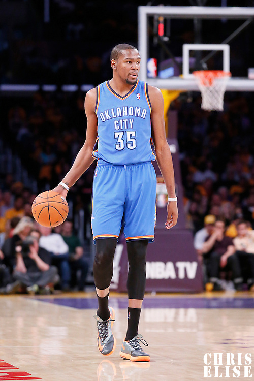 09 March 2014: Oklahoma City Thunder small forward Kevin Durant (35) brings the ball up court during the Los Angeles Lakers 114-110 victory over the Oklahoma City Thunder at the Staples Center, Los Angeles, California, USA.