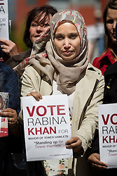 © Licensed to London News Pictures. 09/05/2015. London, UK. Independent candidate, Rabina Khan with supporters canvassing today as she launches her campaign in Shadwell, east London to become Tower Hamlets mayor. Rabina Khan was the first woman cabinet member of former Mayor of Tower Hamlets, Lutfur Rahman and Rahman has endorced Khan to continue his legacy. Photo credit : Vickie Flores/LNP
