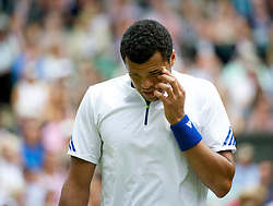 LONDON, ENGLAND - Wednesday, June 29, 2011: Jo-Wilfried Tsonga (FRA) looks dejected during the Gentlemen's Singles Quarter-Final match on day nine of the Wimbledon Lawn Tennis Championships at the All England Lawn Tennis and Croquet Club. (Pic by David Rawcliffe/Propaganda)