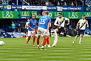 Marcus Browne (30) of Oxford United shoots at goal during the EFL Sky Bet League 1 Play Off leg 1 of 2 match between Portsmouth and Oxford United at Fratton Park, Portsmouth, England on 3 July 2020.