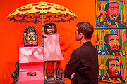 Mum and I by Marisol Escobar and Listen America by Raul Martinez - The EY Exhibition: The World Goes Pop, opens at the Tate Modern. The exhibition covers the full breadth of international Pop Art from the 1960s and 70s, 'exploding' the traditional story of Pop. The show features 'colourful and exciting' works from Latin America, Asia, Europe and the Middle East – the majority of which have never before been shown in the UK. Highlights include: Japanese pop artist Tajiri's striking large scale sculpture Machine No.7, surrounded by works by artists Ushio Shinohara, Erro, Equipo Cronica and Evelyne Axel; a mirrored full room installation specially recreated for this exhibition by Polish pop artist Jana Zelibska; and Henri Cueco's multi-layered sculptural work Large Protest 1969 seen in front of his painting The Red Men, bas-relief 1969, exploring the Cold War, Vietnam War and May 1968 protests in Paris. The Exhibition is at Tate Modern from 7 September 2015 - 24 January 2015.