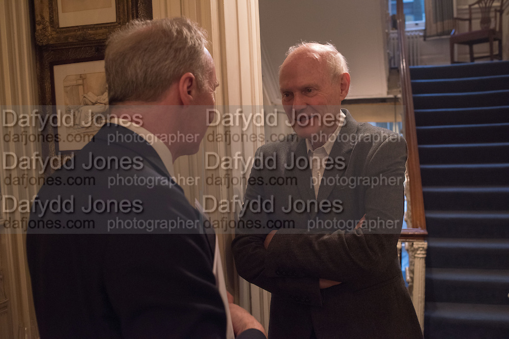 THE DUKE OF BUCCLEUCH; JUSTIN CARTRIGHT, The Walter Scott Prize for Historical Fiction 2015 - The Duke of Buccleuch hosts party to for the shortlist announcement. <br /> The winner is announced at the Borders Book Festival in Scotland in June.John Murray's Historic Rooms, 50 Albemarle Street, London, 24 March 2015.