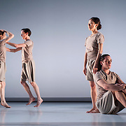 "April 5, 2012 - New York, NY : From left, Sara Procopio, Adam H. Weinert, CC Chang, and James McGinn perform in Jonah Bokaer and Davide Balliano's ""Metro Repitition"" during a dress rehearsal of The Baryshnikov Arts Center and The Watermill Center's presentation of ""On The Beach,"" inspired by -- and to celebrate the 35th anniversary of -- the Robert Wilson and Philip Glass opera ""Einstein on the Beach"" at the Baryshnikov Arts Center in Manhattan on Thursday night.  CREDIT : Karsten Moran for The New York Times"