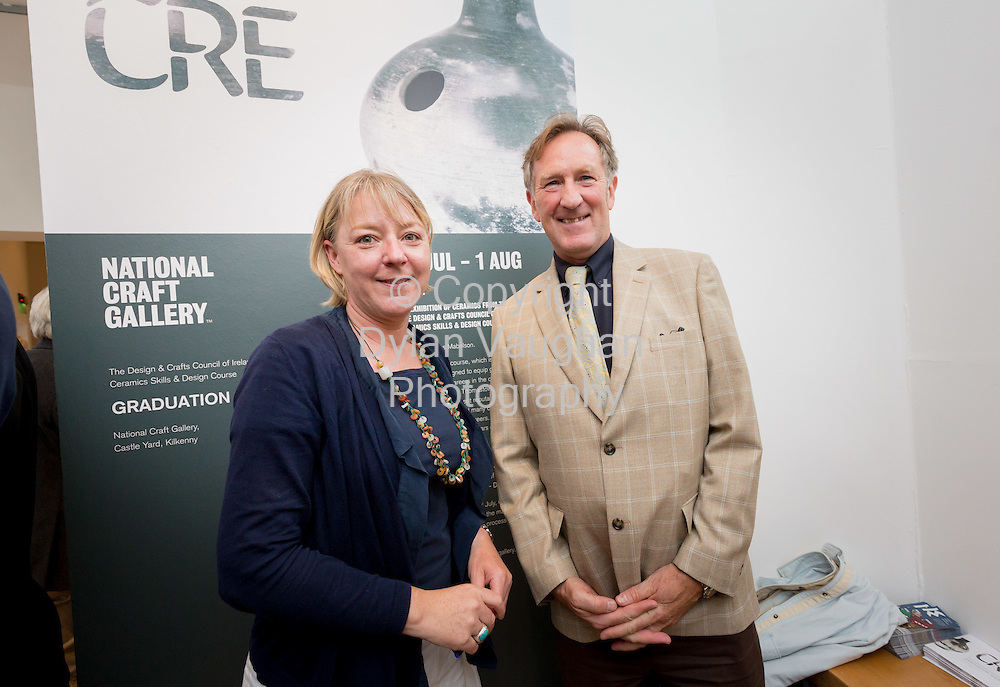 Repro Free No Charge for use<br /> <br /> 15-7-16<br /> <br /> Isabell Smyth, Head of Communication, Heritage Council and John Tynan, Head of Education, Training and Development, DCCoI pictured at the opening of Cr&eacute;, an exhibition of work by the 2016 graduates of the Design &amp; Crafts Council of Ireland&rsquo;s Ceramics Skills &amp; Design Course. <br /> <br /> The exhibition was officially opened by Dr. Audrey Whitty, Keeper of the Art and Industrial Division, National Museum of Ireland &ndash; Decorative Arts &amp; History. <br /> <br /> Cr&eacute; is open at the National Craft <br /> Gallery, Kilkenny until 1st August 2016.<br /> <br /> Picture Dylan Vaughan