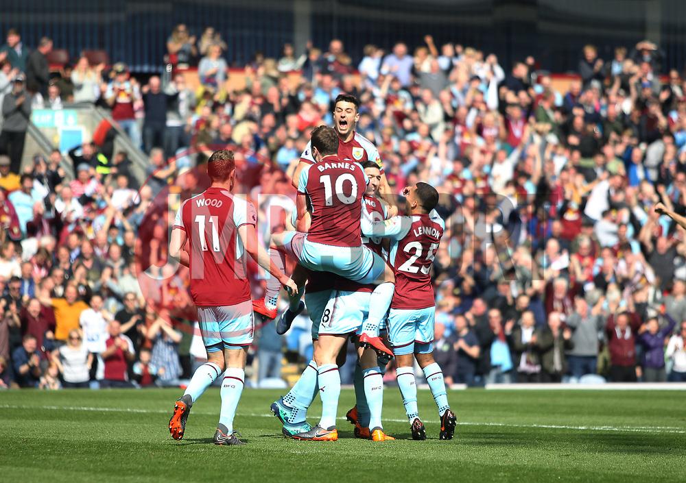 Kevin Long of Burnley (Hidden) celebrates scoring his sides second goal - Mandatory by-line: Jack Phillips/JMP - 14/04/2018 - FOOTBALL - Turf Moor - Burnley, England - Burnley v Leicester City - English Premier League