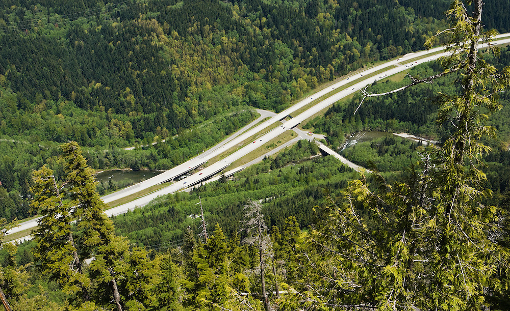 A view looking down on Interstate Highway 90 at exit 38 in Washington , Cascades, USA.