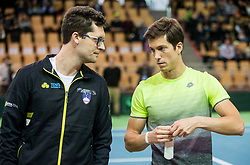 Miha Mlakar and Aljaz Bedene of Slovenia during the Day 1 of Davis Cup 2018 Europe/Africa zone Group II between Slovenia and Poland, on February 3, 2018 in Arena Lukna, Maribor, Slovenia. Photo by Vid Ponikvar / Sportida