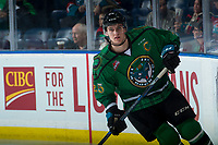KELOWNA, CANADA - MARCH 18: Cal Foote #25 of the Kelowna Rockets warms up against the Vancouver Giants  on March 1, 2018 at Prospera Place in Kelowna, British Columbia, Canada.  (Photo by Marissa Baecker/Shoot the Breeze)  *** Local Caption ***