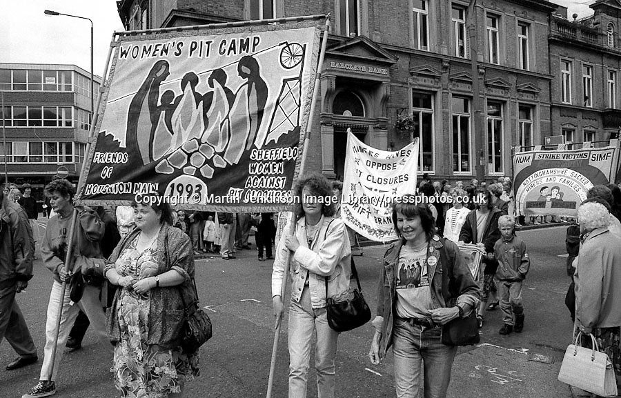 Women's Pit Camp banner at Yorkshire Miner's Gala, Wakefield 19 June 1993