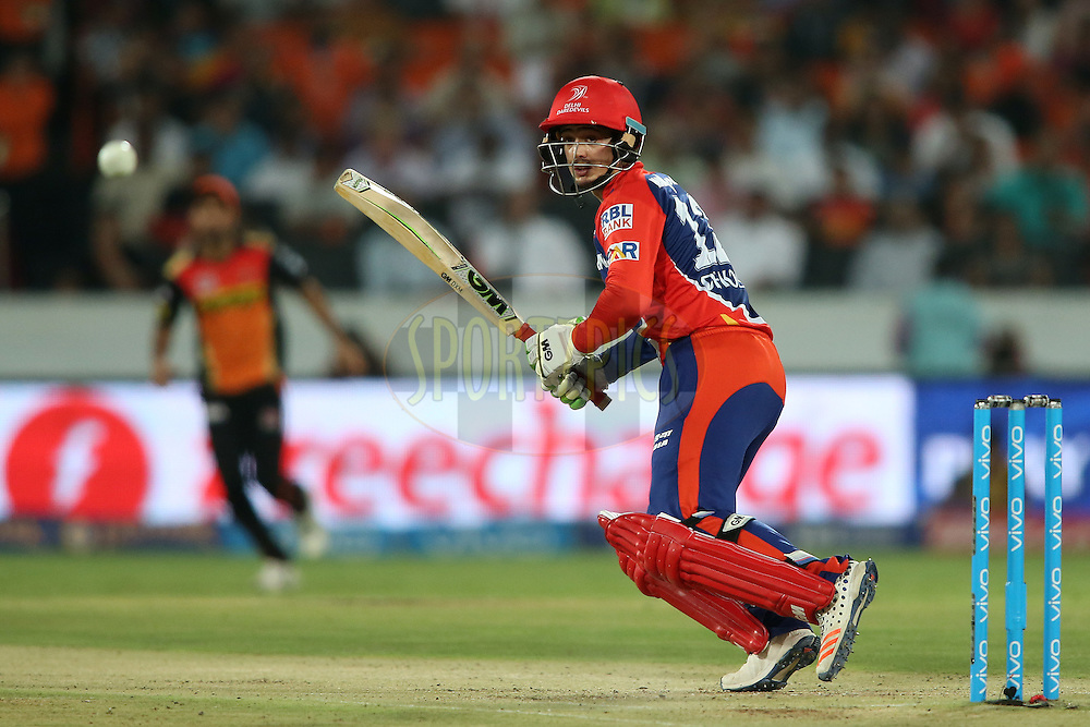 Quinton de Kock of Delhi Daredevils looks for a run during match 42 of the Vivo IPL 2016 (Indian Premier League) between the Sunrisers Hyderabad and the Delhi Daredevils held at the Rajiv Gandhi Intl. Cricket Stadium, Hyderabad on the 12th May 2016<br /> <br /> Photo by Shaun Roy / IPL/ SPORTZPICS