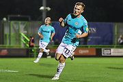 Forest Green Rovers George Williams(11) scores a goal 3-0 and celebrates during the EFL Trophy match between Forest Green Rovers and Cheltenham Town at the New Lawn, Forest Green, United Kingdom on 4 September 2018.