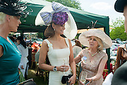 BRIGITTE NIELSON; ISABEL KRISTENSEN; LIZ BREWER, Royal Ascot. Tuesday. 14 June 2011. <br /> <br />  , -DO NOT ARCHIVE-© Copyright Photograph by Dafydd Jones. 248 Clapham Rd. London SW9 0PZ. Tel 0207 820 0771. www.dafjones.com.