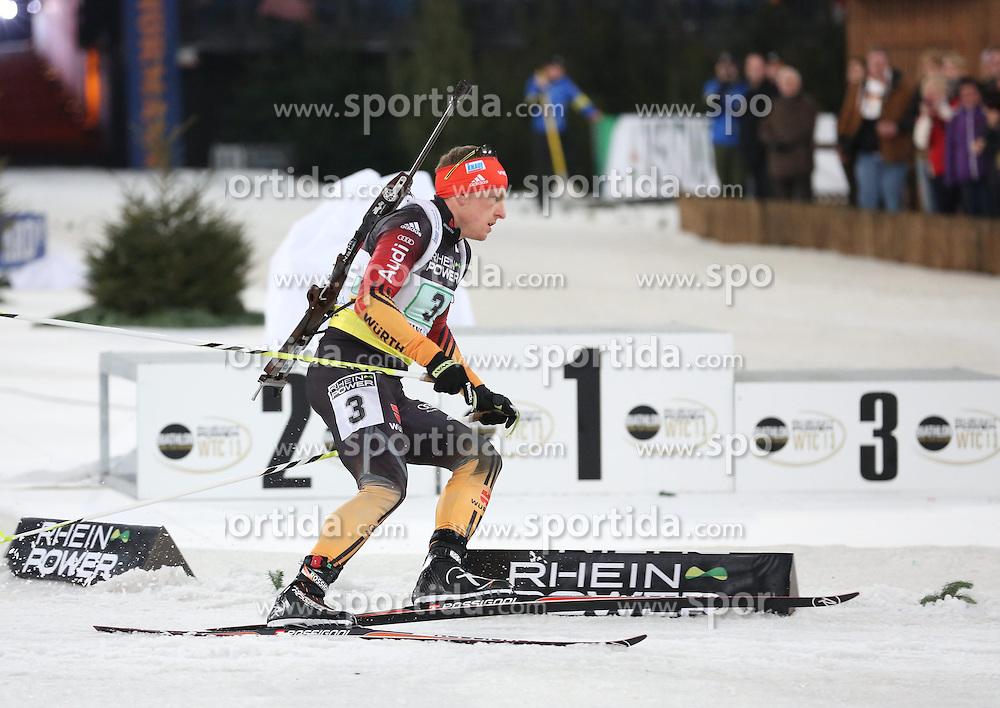 28.12.2013, Veltins Arena, Gelsenkirchen, GER, IBU Biathlon, Biathlon World Team Challenge 2013, im Bild Florian Graf (Deutschland / Germany) // during the IBU Biathlon World Team Challenge 2013 at the Veltins Arena in Gelsenkirchen, Germany on 2013/12/28. EXPA Pictures &copy; 2013, PhotoCredit: EXPA/ Eibner-Pressefoto/ Schueler<br /> <br /> *****ATTENTION - OUT of GER*****