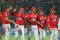 May 8, 2018 - Jaipur, Rajasthan, India - Kings XI Punjab team players celebrates during the IPL T20 match against Rajasthan Royals at Sawai Mansingh Stadium in Jaipur,Rajasthan,India on 8th May,2018.(Photo By Vishal Bhatnagar/NurPhoto) (Credit Image: © Vishal Bhatnagar/NurPhoto via ZUMA Press)