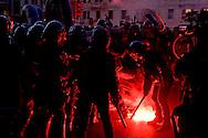 Roma 27 Febbraio 2015<br /> Manifestazione a piazzale Flaminio,vicino a Piazza del Popolo, degli  antifascisti, che protestano contro la manifestazione prevista per sabato 28 febbraio di Matteo Salvini a piazza del Popolo. La polizia in tenuta anti-sommossa carica i manifestanti che tentano di entrare a piazza del Popolo.<br /> Rome February 27, 2015<br /> Demonstration in Piazzale Flaminio, near Piazza del Popolo, of the anti-fascists, who protest against the demonstration planned for Saturday, February 28 of Matteo Salvini to Piazza del Popolo. Police in riot gear charged the protesters trying to enter the People's square
