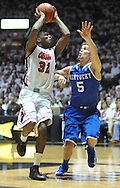 """Mississippi's Jarvis Summers (32) shoots against Kentucky's Jarrod Polson (5) at the C.M. """"Tad"""" Smith Coliseum on Tuesday, January 29, 2013.  (AP Photo/Oxford Eagle, Bruce Newman).."""