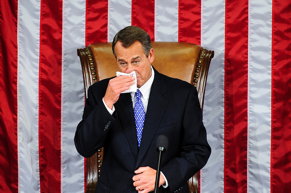 Rep. John Boehner (R-OH) wipes a tear while delivering remarks after being elected to a second term as Speaker of the House with 220 votes at the U.S. Capitol in Washington, District of Columbia, U.S., on Thursday, Jan. 3, 2013. Twelve GOP lawmakers either opposed him, voted present or abstained. The 133th Congress begins Thursday with the swearing in of newly elected Members of Congress and the election of the Speaker of the House of Representatives. Photographer: Pete Marovich/Bloomberg