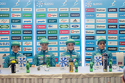 Ursa Bogataj, Nika Kriznar, Spela Rogelj and Maja Vtic during press conference before FIS Ski World Cup Ladies competition in Ljubno 2018 on January 24, 2018 in BTC, Ljubljana, Slovenia. Photo by Urban Urbanc / Sportida