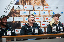 Gorazd Hren with Janja Garnbret during PZS press conference after IFSC Climbing World Championships in Hachioji (JPN) 2019, on August 23, 2019 at Ministry of Education, Science and Sport, Ljubljana, Slovenia. Photo by Grega Valancic / Sportida