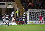 Partick Thistle&rsquo;s Adebayo Azeez heads home his side's opener - Dundee v Partick Thistle in the Ladbrokes Scottish Premiership at Dens Park, Dundee. Photo: David Young<br /> <br />  - &copy; David Young - www.davidyoungphoto.co.uk - email: davidyoungphoto@gmail.com
