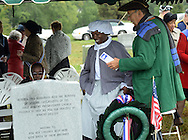 "SHANNAH08P<br /> Euell Aira Nielsen (left) of Lansdowne, Pennsylvania, portraying Hannah Till, stands with Hendrick Fisher of New Brunswick, New Jersey (right) as they view the plaque on the tombstone honoring Hannah Till Saturday October 3, 2015 at Eden Cemetery in Collingdale, Pennsylvania. Hannah Till, a free black woman and unsung hero of the Revolutionary War who worked for Gens. George Washington and Lafayette is being honored as a ""Patriot"" by the Daughters of the American Revolution with a special ceremony and headstone dedication at Eden Cemetery, a historically-black cemetery in Collingdale.  (William Thomas Cain/For The Inquirer)"