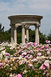 """French stone tempietto and statue, """"Love, the Captive of Youth"""", Rose Garden, The Huntington Library, Art Collection, and Botanical Gardens San Marino, California, United States of America"""