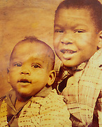 ***Photo Requested by Clarence E. Hill, Jr.***<br /> <br /> An old photo of Former Dallas Cowboys guard Larry Allen, Jr. (right) and his younger brother Von Allen, photographed at his home in Danville, California, on June 27, 2013.  Allen will be inducted into the NFL Hall of Fame during the Enshrinement Ceremony at Fawcett Stadium in Canton, Ohio, on August 2, 2013. (Stan Olszewski for Fort Worth Star-Telegram)