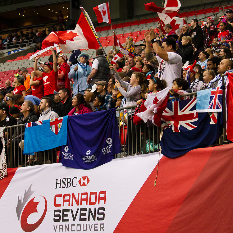 Fans cheer as Canada plays Brazil in the Bowl quarter final at the HSBC Sevens World Series XVII Round 6 at B.C. Place Stadium in Vancouver British Columbia on March 13, 2016. Canada won the match 19-0.  (KevinLight/CBCSports)