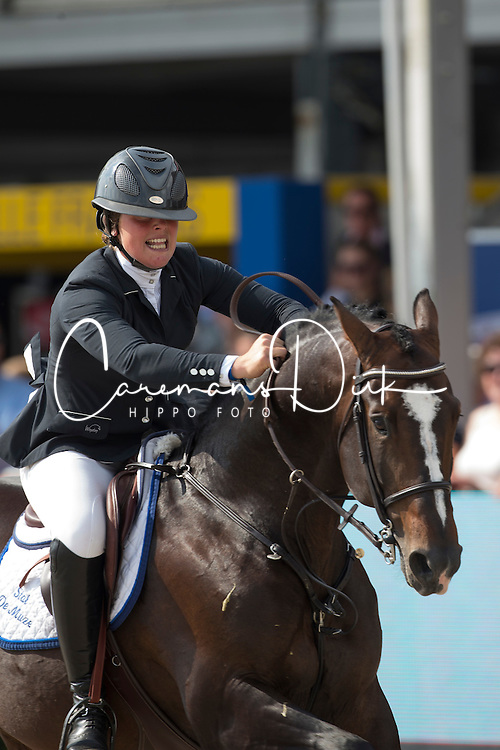 De Brabander Karline (BEL) - Fantomas de Muze <br /> Sires of the World<br /> FEI World Breeding Jumping Championships for Young Horses - Lanaken 2014<br /> &copy; Dirk Caremans