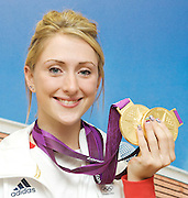 Laura Trott <br /> Double Gold Medal Winner<br /> Press Conference, Team GB, Stratford, London, Great Britain <br /> 7th August 2012 <br /> <br /> Women's Team Pursuit Finals - Gold<br /> <br /> Women's Omnium race<br />  <br /> - Gold<br /> <br /> Photograph by Elliott Franks