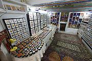 Uzbekistan, Bukhara. Abdul Aziz Khan Medressa. Souvenir shops in students' cells.