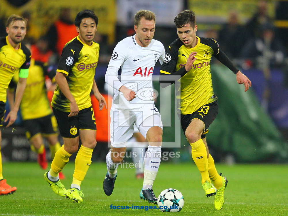 Julian Weigi of Borussia Dortmund and Christian Eriksen of Tottenham Hotspur during the UEFA Champions League match at Signal Iduna Park, Dortmund<br /> Picture by Yannis Halas/Focus Images Ltd +353 8725 82019<br /> 21/11/2017