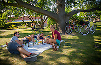 Copenhagen, Denmark- JULY 24, 2014: A group of friends make a picnic in the King's Garden. The busy garden is home to the Rosenborg Castle which houses many royal Danish artifacts including the Crown Jewels and the Danish Crown Regalia. CREDIT: Chris Carmichael for The New York Times