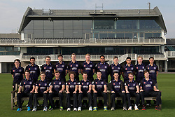 The Gloucestershire CCC team line up in their Natwest T20 Blast kit - Photo mandatory by-line: Dougie Allward/JMP - 07966 386802 - 10/04/2015 - SPORT - CRICKET - Bristol, England - Bristol County Ground - Gloucestershire County Cricket Club Photocall.