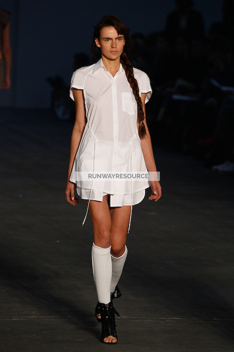 Katharina Friedrich walks the runway wearing Alexander Wang Spring 2010 collection during Mercedes-Benz Fashion Week in New York, NY on September 11, 2009
