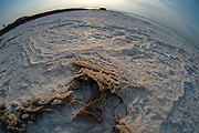 Israel, Dead Sea, fisheye view of salt crystalization caused by water evaporation