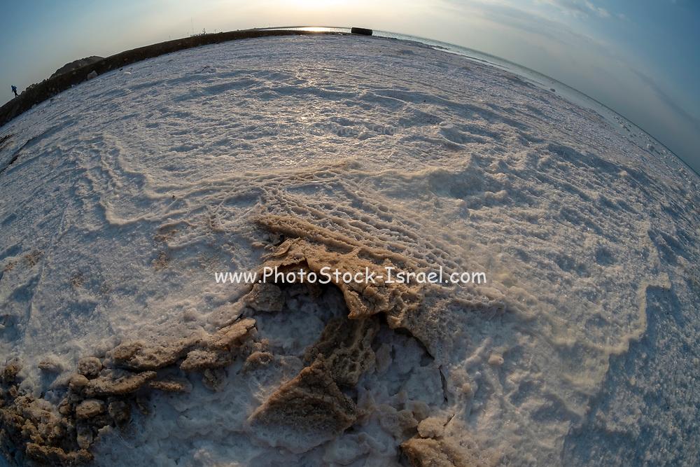 Israel, Dead Sea, fisheye view of salt crystalization caused by water evaporation