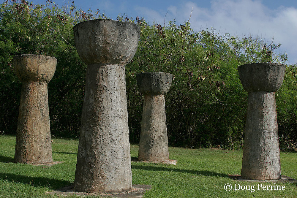 replica latte stones (pillars used to support important Chamorro buildings in ancient times). Saipan, Commonwealth of Northern Mariana Islands, Micronesia ( Western Pacific Ocean )