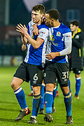 Blackburn Rovers team celebrates 2-1 win during the EFL Sky Bet League 1 match between Fleetwood Town and Blackburn Rovers at the Highbury Stadium, Fleetwood, England on 20 January 2018. Photo by Michal Karpiczenko.