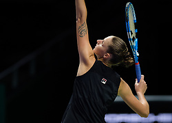 October 23, 2018 - Kallang, SINGAPORE - Karolina Pliskova of the Czech Republic in action during her second match at the 2018 WTA Finals tennis tournament (Credit Image: © AFP7 via ZUMA Wire)