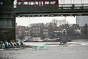 Womens Trial VIII's for 71st Women's University Boat Race, sponsored by Newton, held on the Championship Course from Putney to Mortlake, Thursday 10 December 2015.<br /> <br /> CUWBC Trial VIII's between TIDEWAY on Surrey and TWICKENHAM on Middlesex<br /> <br /> TIDEWAY Bow, Kate Baker, 2, Evelyn Boettcher, 3, Rachel Elwood, 4, Alice Jackson, 5, Lucy Pike, 6, Alexandra Wood, 7, Thea Zabell, Stroke, Daphne Martschenko, Cox, Olivia Godwin  <br /> <br /> TWICKENHAM, Bow, Dorottya Nagy, 2, Imogen Grant, 3, Ashton Brown, 4, Sarah Carlotti, 5, Hannah Roberts, 6, Fiona Macklin, 7, Caroline Habjan, Stroke, Myriam Goudet, Cox, Rosemary Ostfeld [Mandatory Credit; Intersport Images]