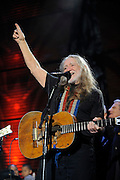 Willie Nelson and friends performing at the Farm Aid 2009 benefit concert in St. Louis, Missouri on October 4, 2009.