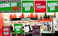 Stock photo of Boxing Day Sale signs in a shopping mall during Christmas holidays in Toronto Canada