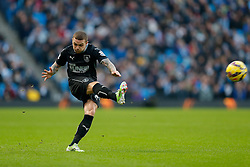 Kieran Trippier of Burnley takes a free kick - Photo mandatory by-line: Rogan Thomson/JMP - 07966 386802 - 28/12/2014 - SPORT - FOOTBALL - Manchester, England - Etihad Stadium - Manchester City v Burnley - Barclays Premier League.